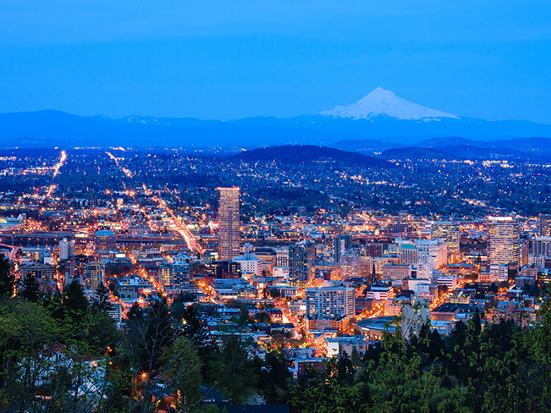Beautiful View of Portland at Dusk